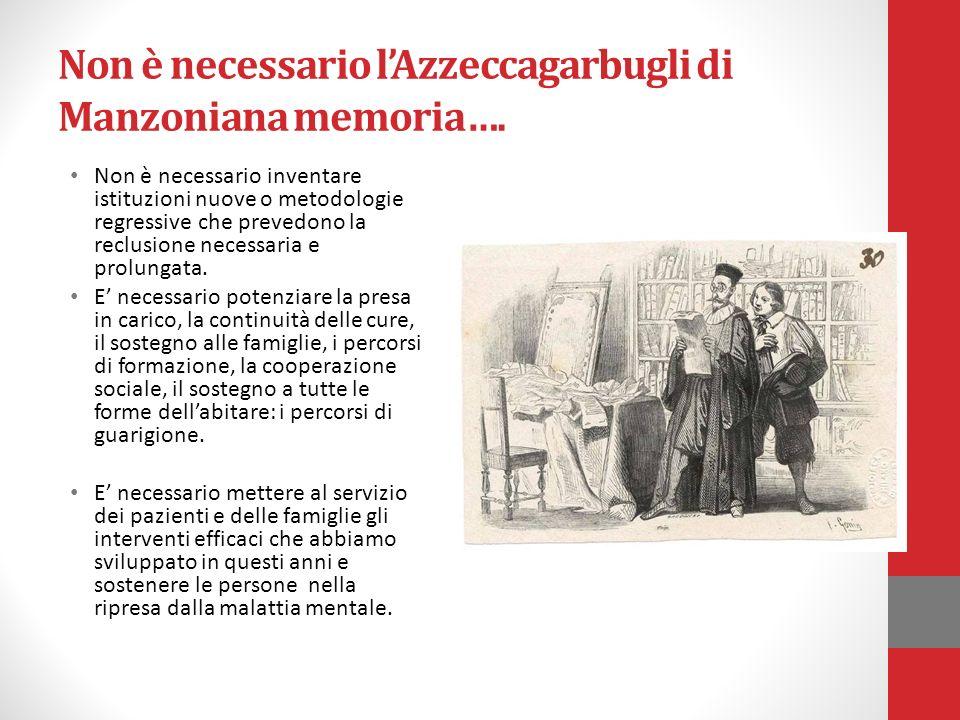 Non è necessario lAzzeccagarbugli di Manzoniana memoria…. Non è necessario inventare istituzioni nuove o metodologie regressive che prevedono la reclu