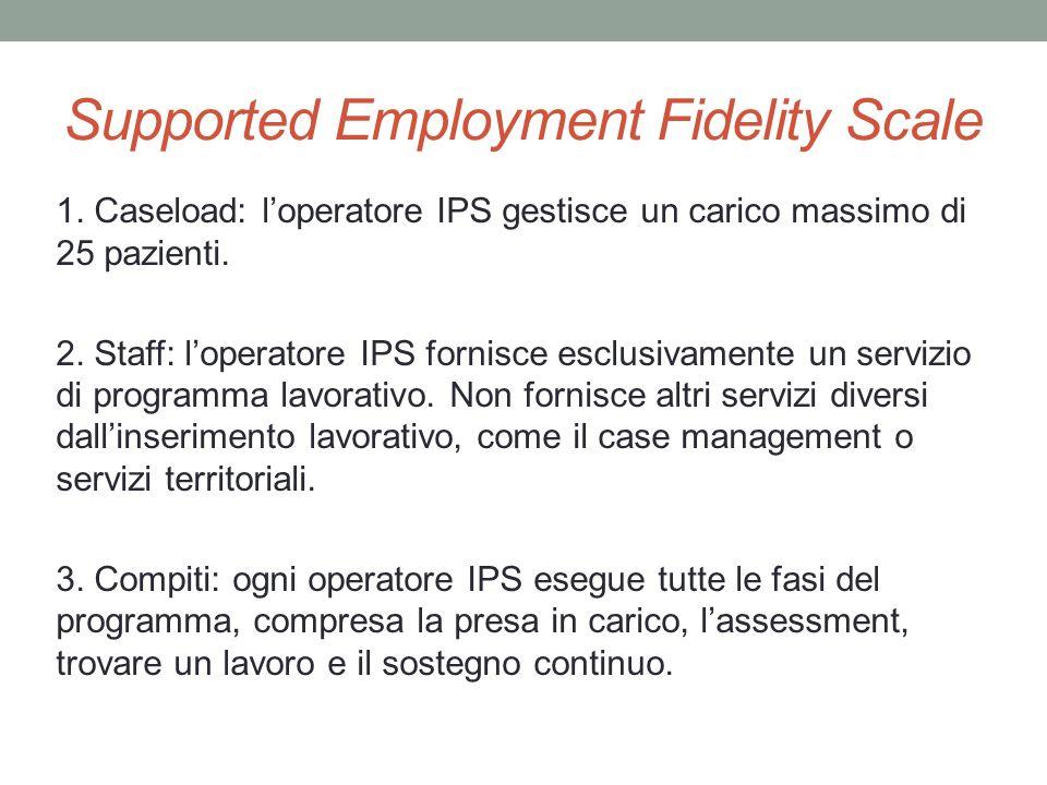 Supported Employment Fidelity Scale 1. Caseload: loperatore IPS gestisce un carico massimo di 25 pazienti. 2. Staff: loperatore IPS fornisce esclusiva