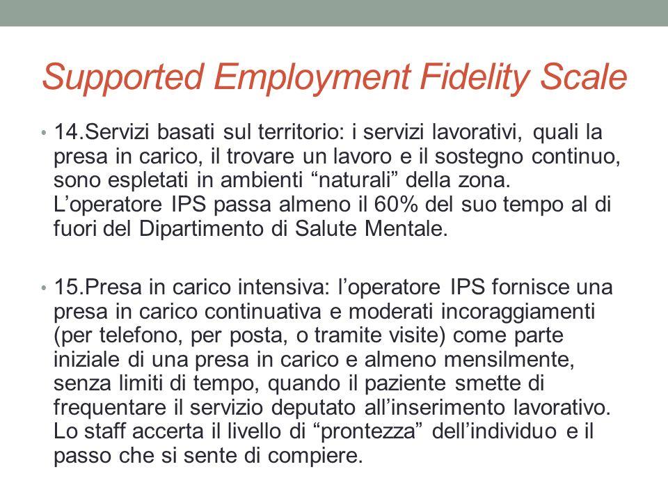 Supported Employment Fidelity Scale 14.Servizi basati sul territorio: i servizi lavorativi, quali la presa in carico, il trovare un lavoro e il sosteg