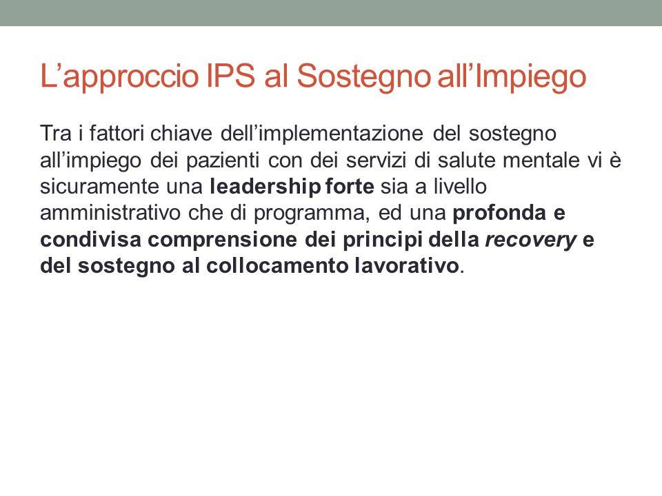 Lapproccio IPS al Sostegno allImpiego Tra i fattori chiave dellimplementazione del sostegno allimpiego dei pazienti con dei servizi di salute mentale