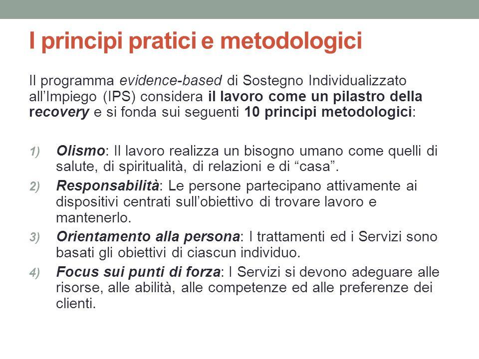 I principi pratici e metodologici Il programma evidence-based di Sostegno Individualizzato allImpiego (IPS) considera il lavoro come un pilastro della