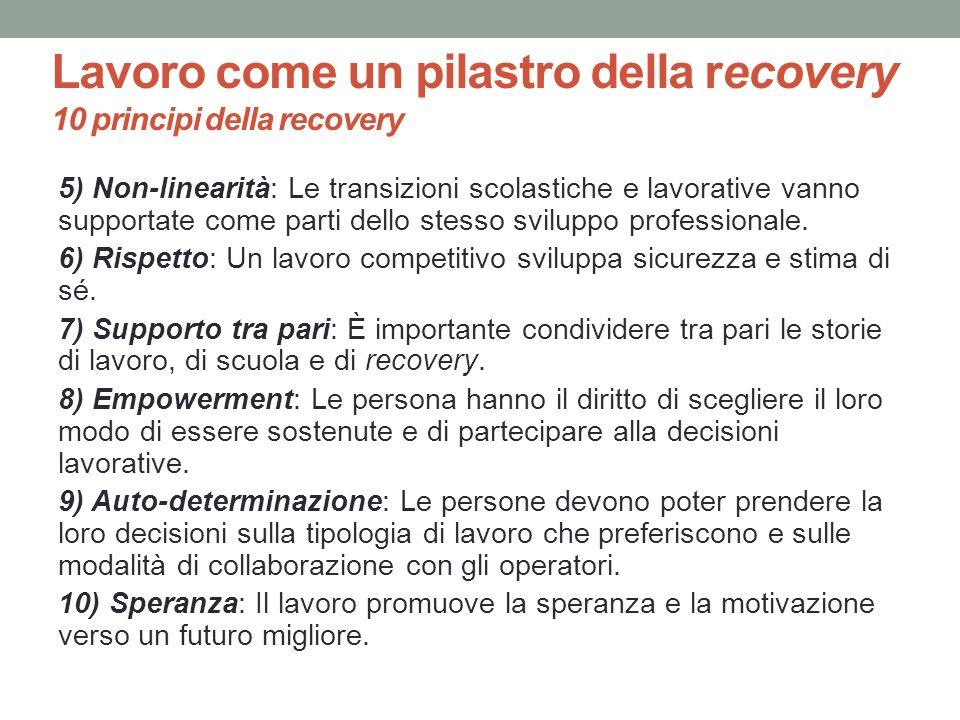Lavoro come un pilastro della recovery 10 principi della recovery 5) Non-linearità: Le transizioni scolastiche e lavorative vanno supportate come part