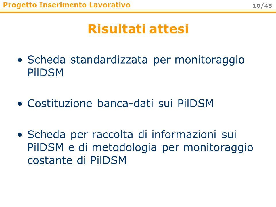 Progetto Inserimento Lavorativo 10/45 Risultati attesi Scheda standardizzata per monitoraggio PilDSM Costituzione banca-dati sui PilDSM Scheda per rac