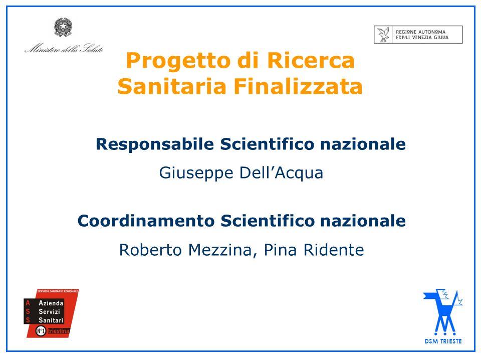 DSM TRIESTE Progetto di Ricerca Sanitaria Finalizzata Responsabile Scientifico nazionale Giuseppe DellAcqua Coordinamento Scientifico nazionale Robert