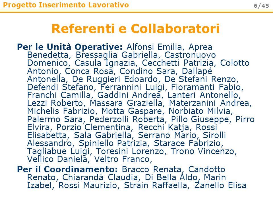 Progetto Inserimento Lavorativo 6/45 Referenti e Collaboratori Per le Unità Operative: Alfonsi Emilia, Aprea Benedetta, Bressaglia Gabriella, Castronu