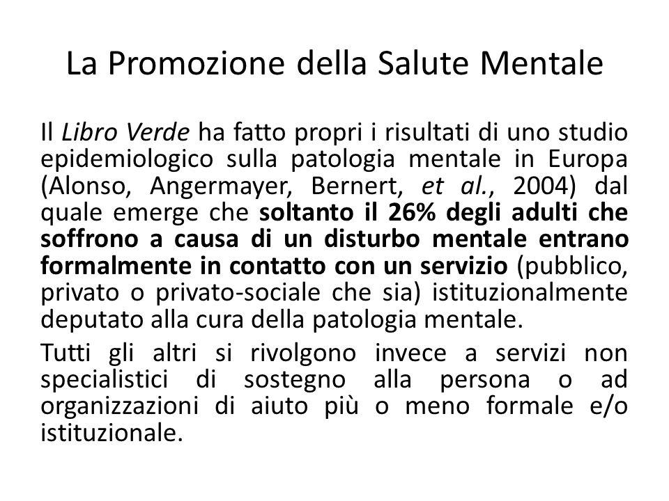 La Promozione della Salute Mentale Il Libro Verde ha fatto propri i risultati di uno studio epidemiologico sulla patologia mentale in Europa (Alonso,