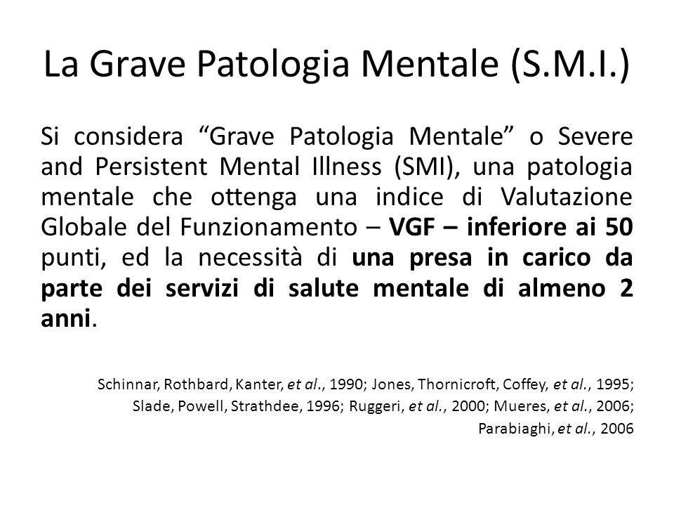 La Grave Patologia Mentale (S.M.I.) Si considera Grave Patologia Mentale o Severe and Persistent Mental Illness (SMI), una patologia mentale che otten