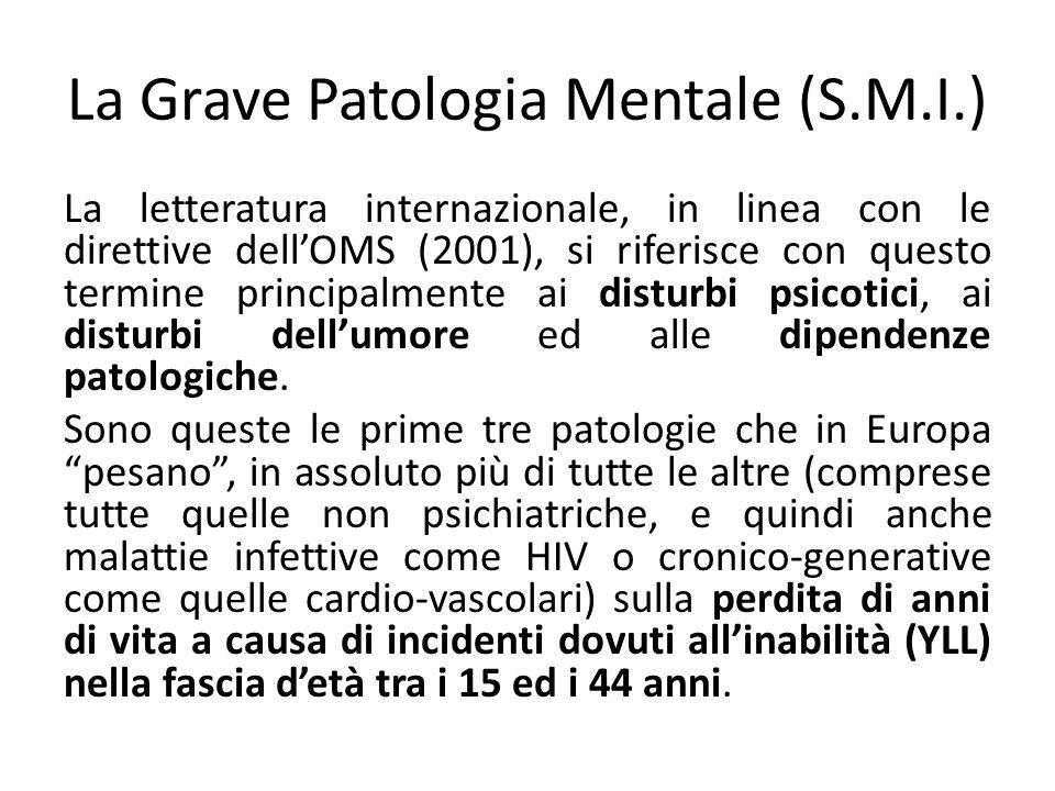 La Grave Patologia Mentale (S.M.I.) La letteratura internazionale, in linea con le direttive dellOMS (2001), si riferisce con questo termine principalmente ai disturbi psicotici, ai disturbi dellumore ed alle dipendenze patologiche.