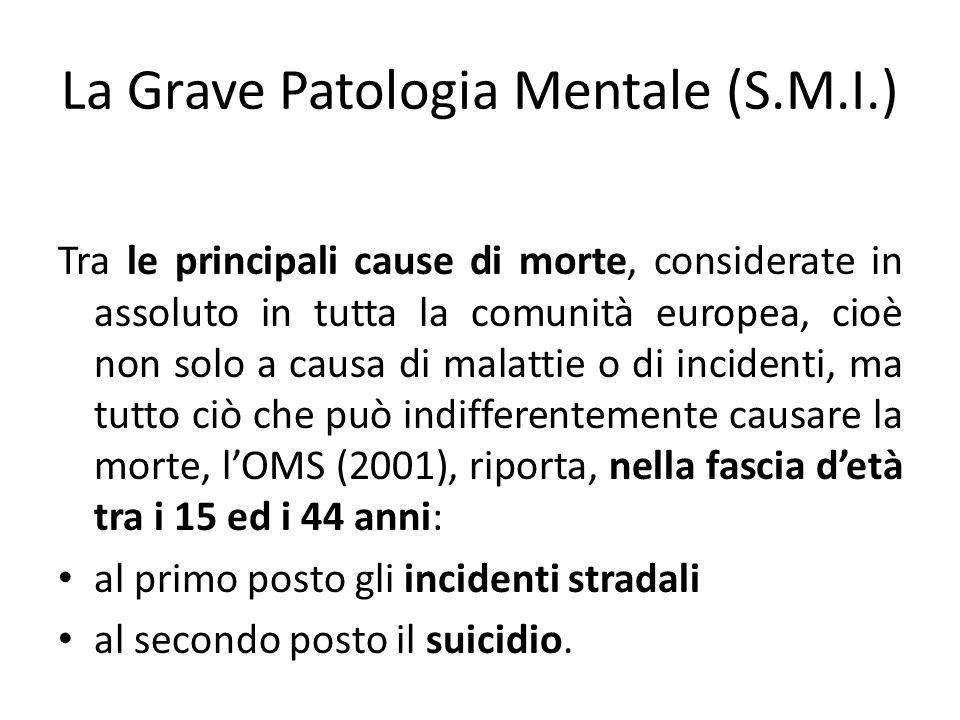 La Grave Patologia Mentale (S.M.I.) Tra le principali cause di morte, considerate in assoluto in tutta la comunità europea, cioè non solo a causa di m