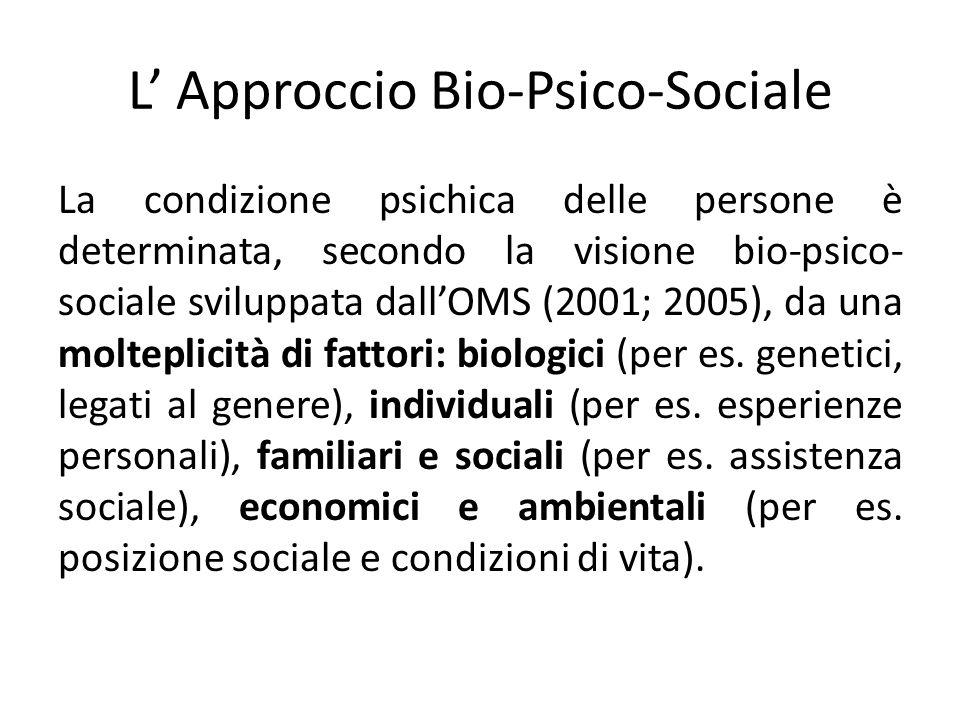 L Approccio Bio-Psico-Sociale La condizione psichica delle persone è determinata, secondo la visione bio-psico- sociale sviluppata dallOMS (2001; 2005