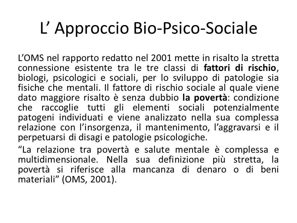 L Approccio Bio-Psico-Sociale LOMS nel rapporto redatto nel 2001 mette in risalto la stretta connessione esistente tra le tre classi di fattori di ris