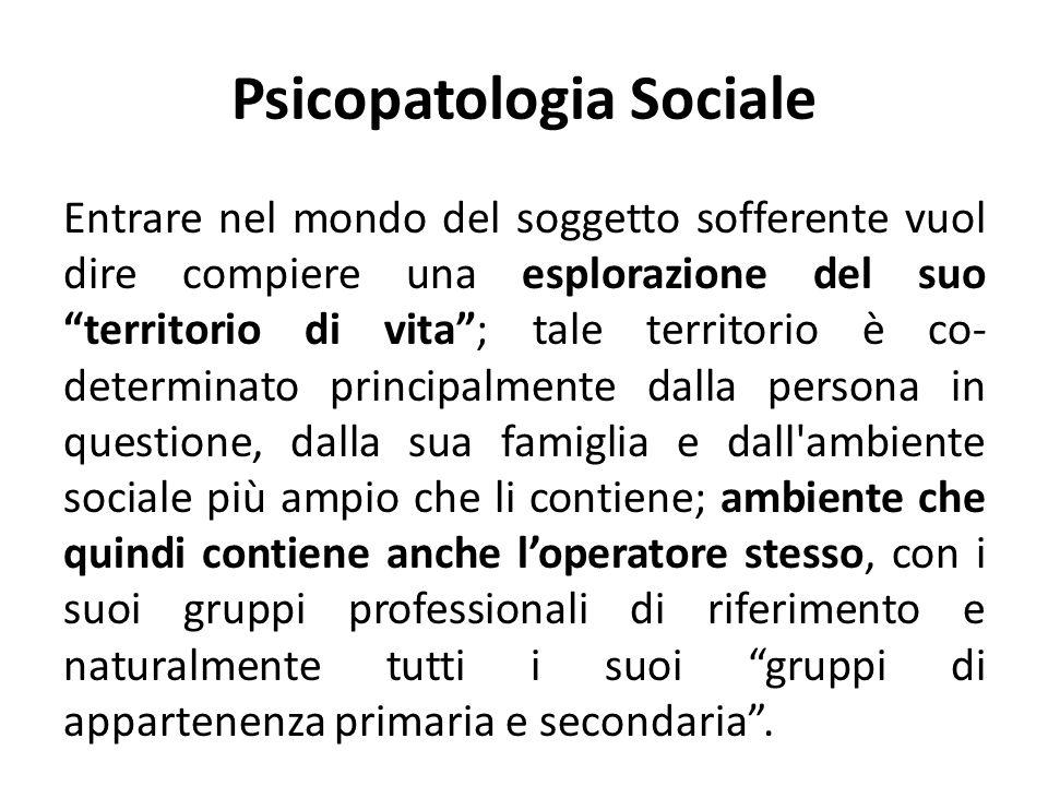 Psicopatologia Sociale Entrare nel mondo del soggetto sofferente vuol dire compiere una esplorazione del suo territorio di vita; tale territorio è co-