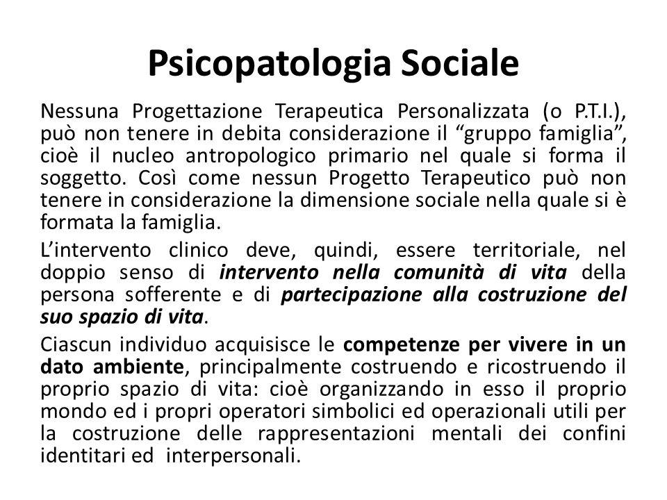 Psicopatologia Sociale Nessuna Progettazione Terapeutica Personalizzata (o P.T.I.), può non tenere in debita considerazione il gruppo famiglia, cioè i