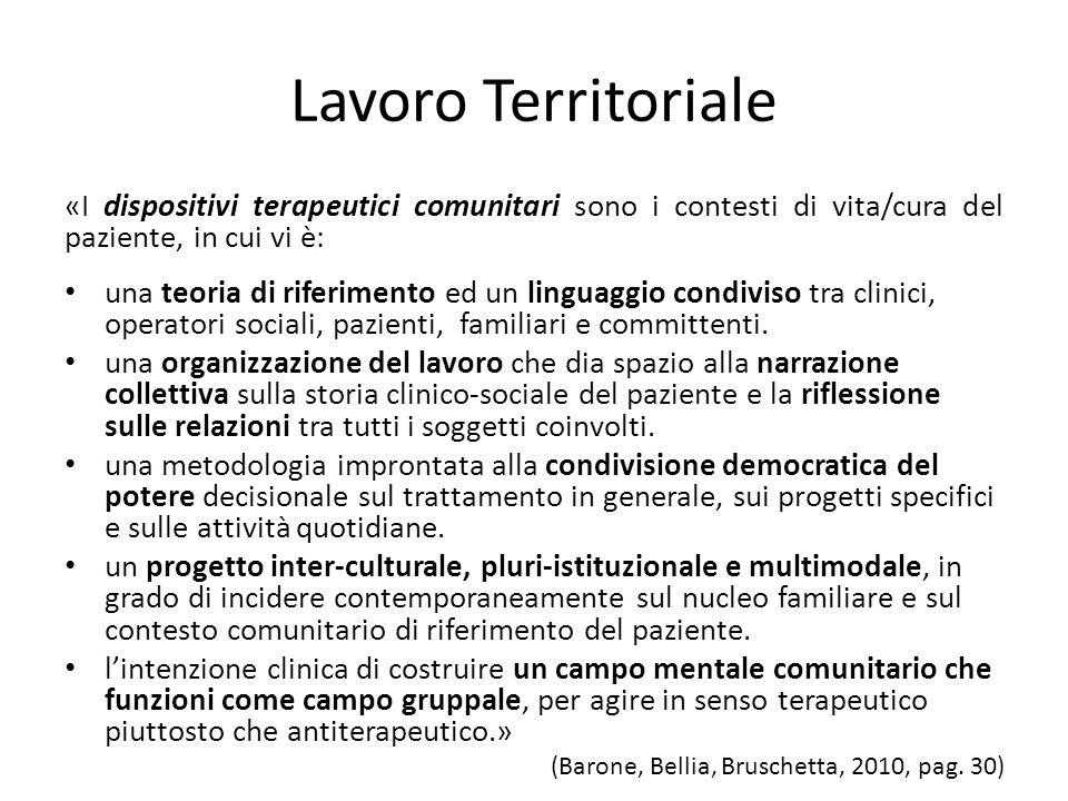 Lavoro Territoriale «I dispositivi terapeutici comunitari sono i contesti di vita/cura del paziente, in cui vi è: una teoria di riferimento ed un ling