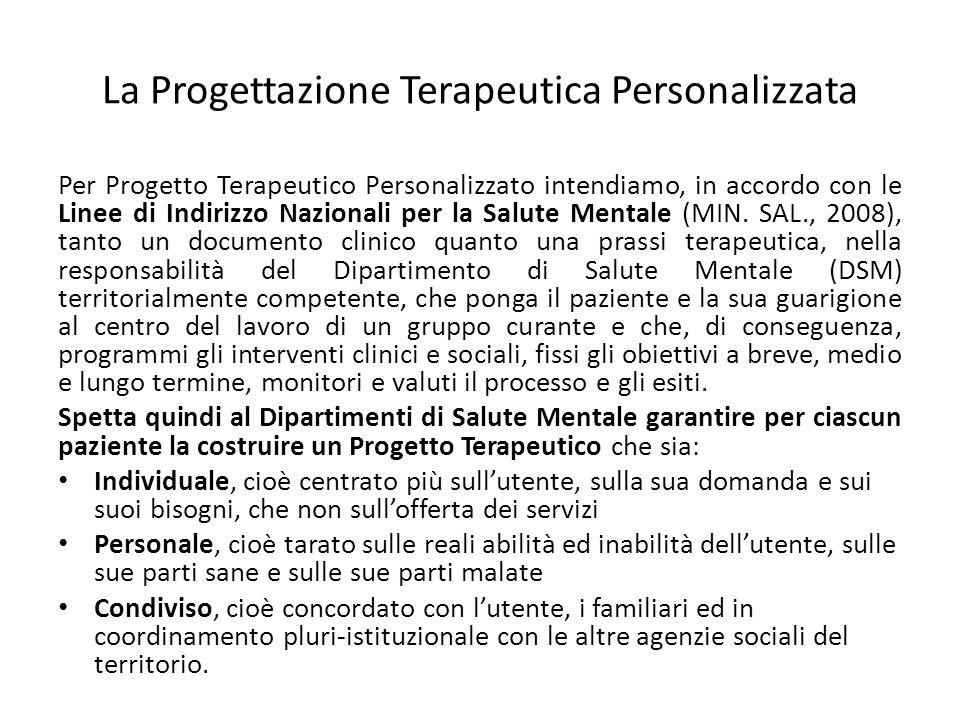 La Progettazione Terapeutica Personalizzata Per Progetto Terapeutico Personalizzato intendiamo, in accordo con le Linee di Indirizzo Nazionali per la
