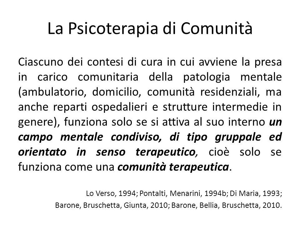 La Psicoterapia di Comunità Ciascuno dei contesi di cura in cui avviene la presa in carico comunitaria della patologia mentale (ambulatorio, domicilio