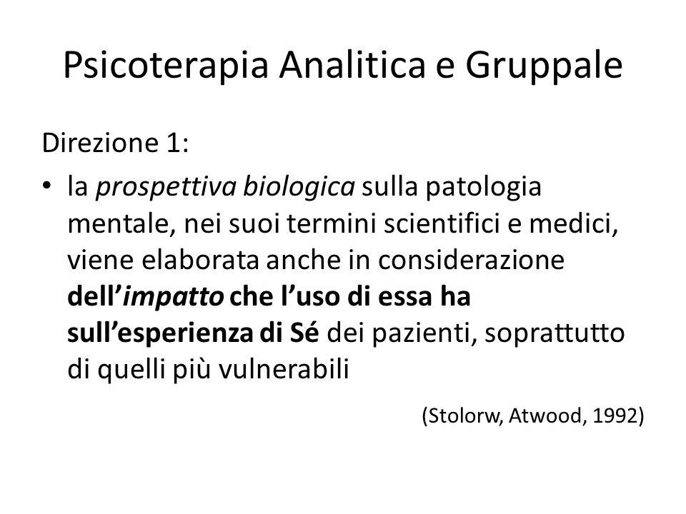 Psicoterapia Analitica e Gruppale Direzione 1: la prospettiva biologica sulla patologia mentale, nei suoi termini scientifici e medici, viene elaborat