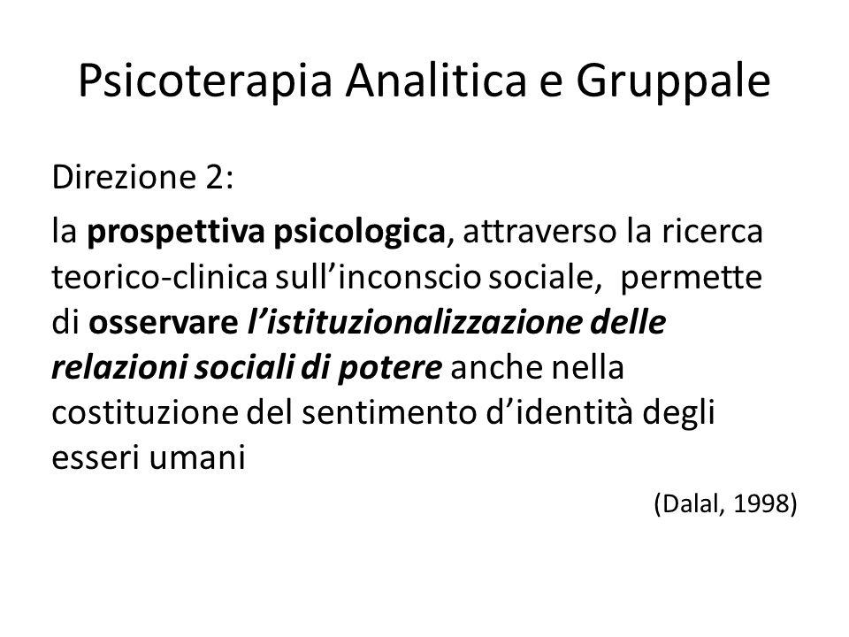 Psicoterapia Analitica e Gruppale Direzione 2: la prospettiva psicologica, attraverso la ricerca teorico-clinica sullinconscio sociale, permette di os