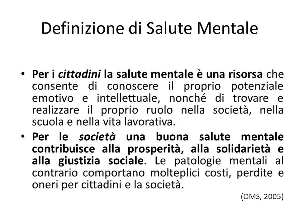 Definizione di Salute Mentale Per i cittadini la salute mentale è una risorsa che consente di conoscere il proprio potenziale emotivo e intellettuale,