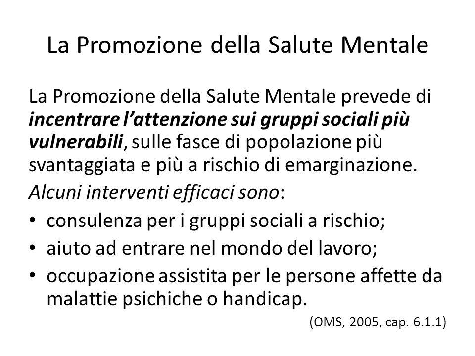 La Promozione della Salute Mentale La Promozione della Salute Mentale prevede di incentrare lattenzione sui gruppi sociali più vulnerabili, sulle fasc