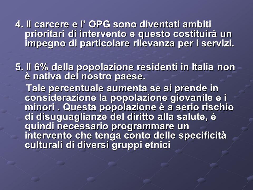 4. Il carcere e l OPG sono diventati ambiti prioritari di intervento e questo costituirà un impegno di particolare rilevanza per i servizi. 5. Il 6% d