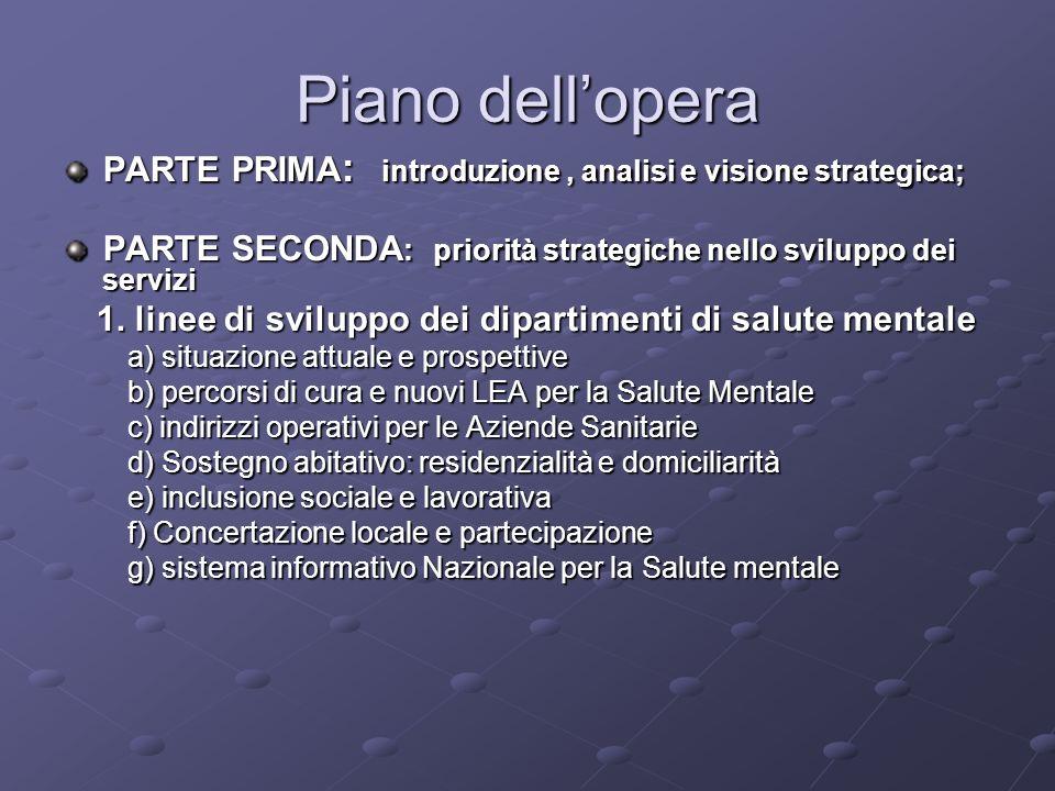 Piano dellopera PARTE PRIMA : introduzione, analisi e visione strategica; PARTE SECONDA : priorità strategiche nello sviluppo dei servizi 1. linee di