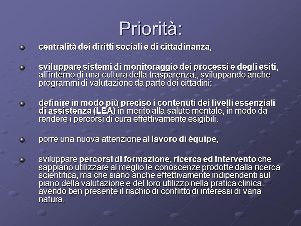 Priorità: centralità dei diritti sociali e di cittadinanza, sviluppare sistemi di monitoraggio dei processi e degli esiti, allinterno di una cultura d