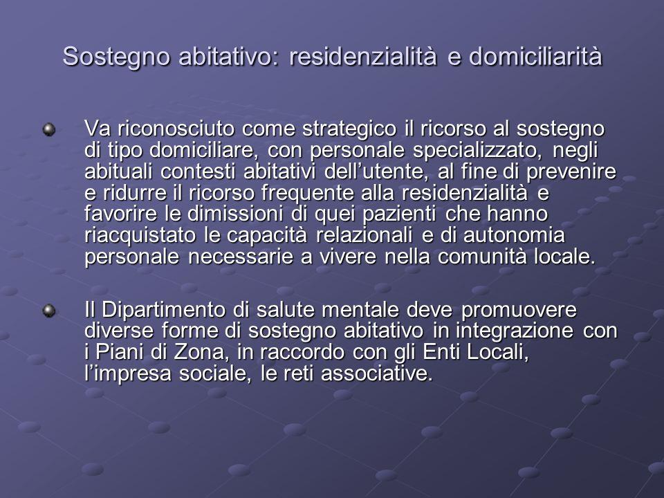 Sostegno abitativo: residenzialità e domiciliarità Va riconosciuto come strategico il ricorso al sostegno di tipo domiciliare, con personale specializ