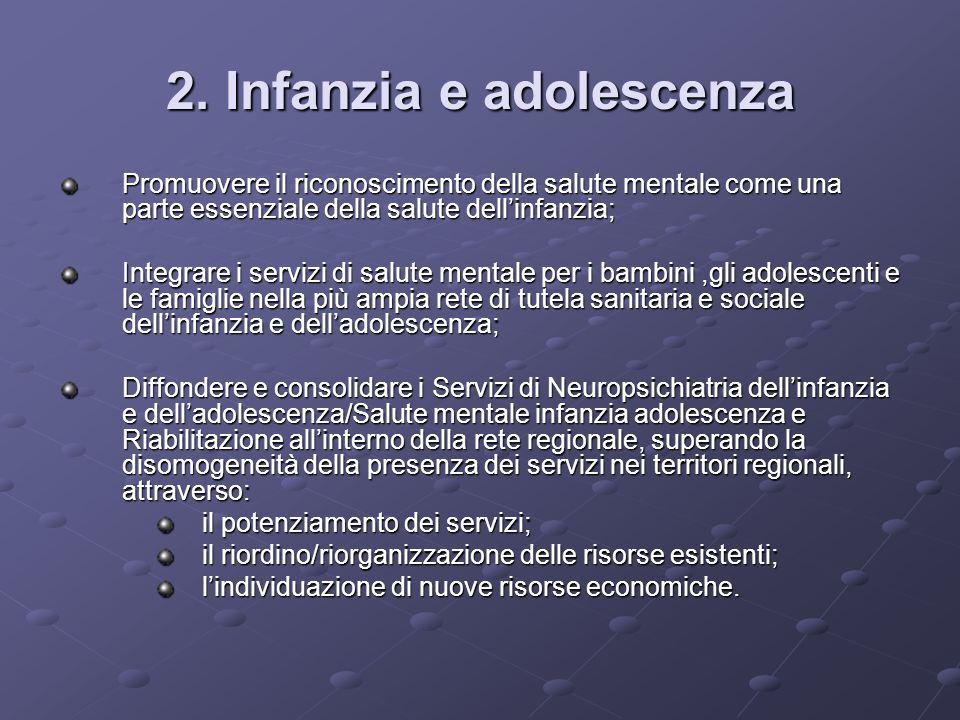 2. Infanzia e adolescenza Promuovere il riconoscimento della salute mentale come una parte essenziale della salute dellinfanzia; Integrare i servizi d