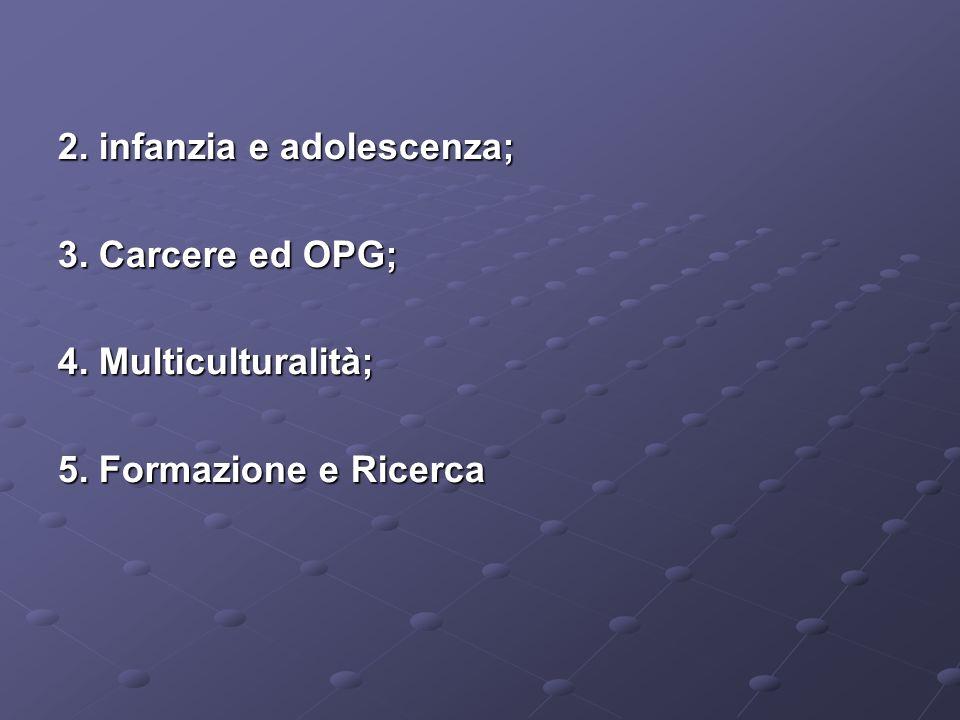 2. infanzia e adolescenza; 3. Carcere ed OPG; 4. Multiculturalità; 5. Formazione e Ricerca
