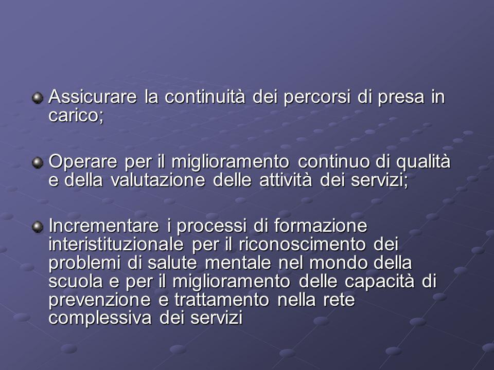 Assicurare la continuità dei percorsi di presa in carico; Operare per il miglioramento continuo di qualità e della valutazione delle attività dei serv