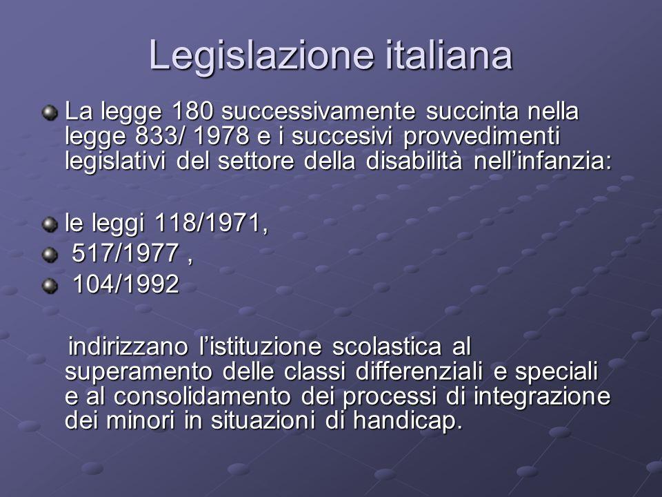 Legislazione italiana La legge 180 successivamente succinta nella legge 833/ 1978 e i succesivi provvedimenti legislativi del settore della disabilità