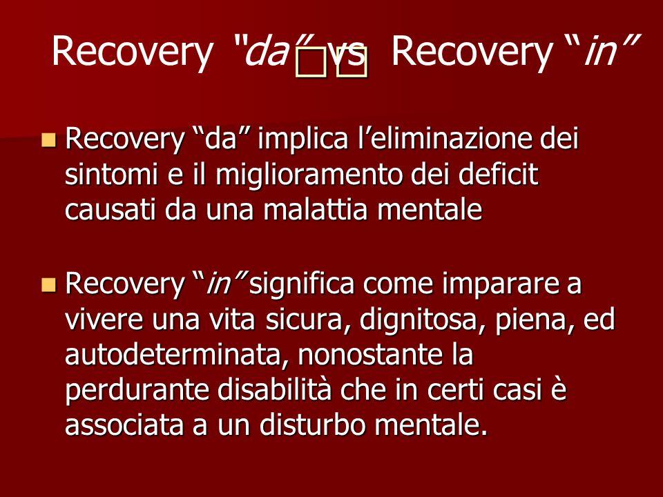 Recovery da implica leliminazione dei sintomi e il miglioramento dei deficit causati da una malattia mentale Recovery da implica leliminazione dei sin