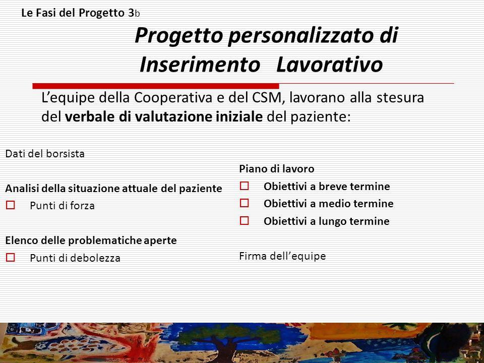 Le Fasi del Progetto 3 b Progetto personalizzato di Inserimento Lavorativo Dati del borsista Analisi della situazione attuale del paziente Punti di fo