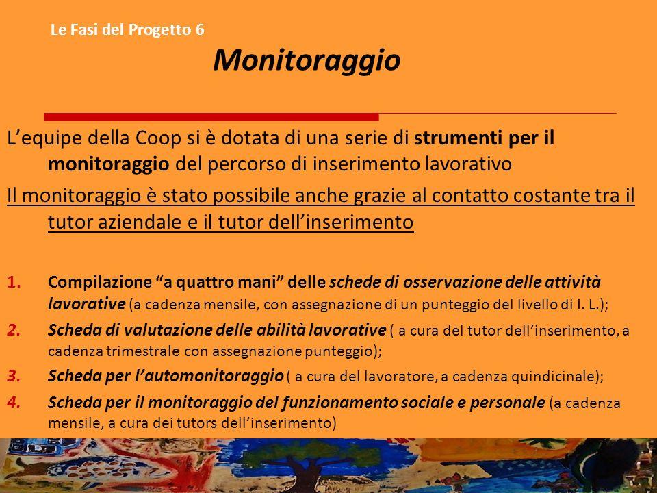 Le Fasi del Progetto 6 Monitoraggio Lequipe della Coop si è dotata di una serie di strumenti per il monitoraggio del percorso di inserimento lavorativ