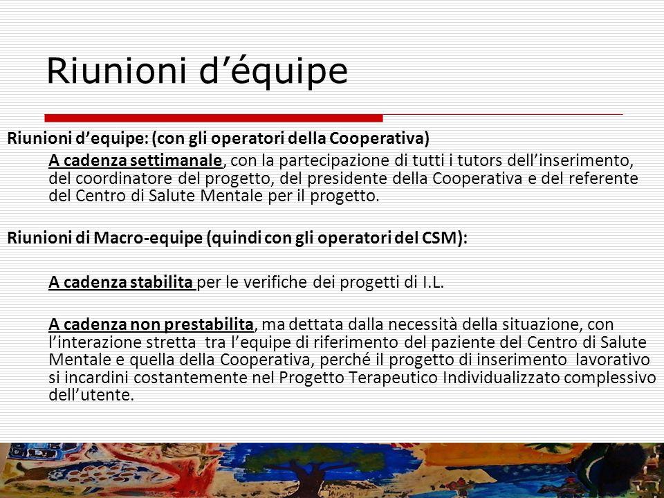 Riunioni déquipe Riunioni dequipe: (con gli operatori della Cooperativa) A cadenza settimanale, con la partecipazione di tutti i tutors dellinseriment