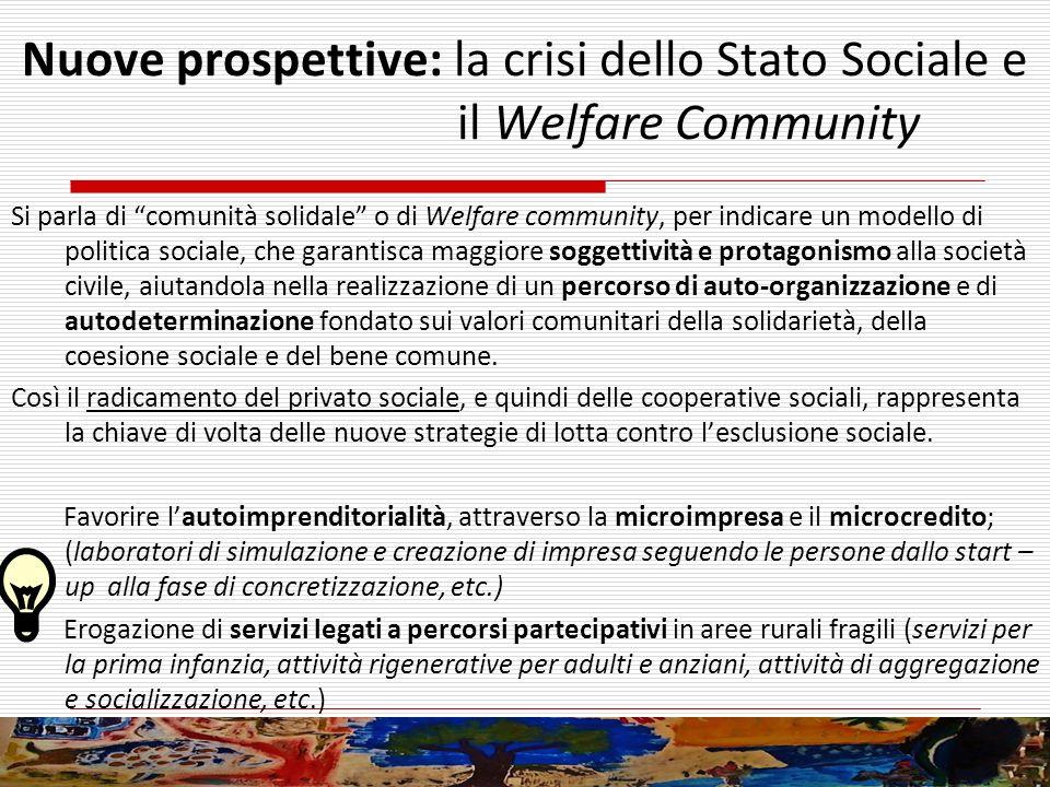Nuove prospettive: la crisi dello Stato Sociale e il Welfare Community Si parla di comunità solidale o di Welfare community, per indicare un modello d