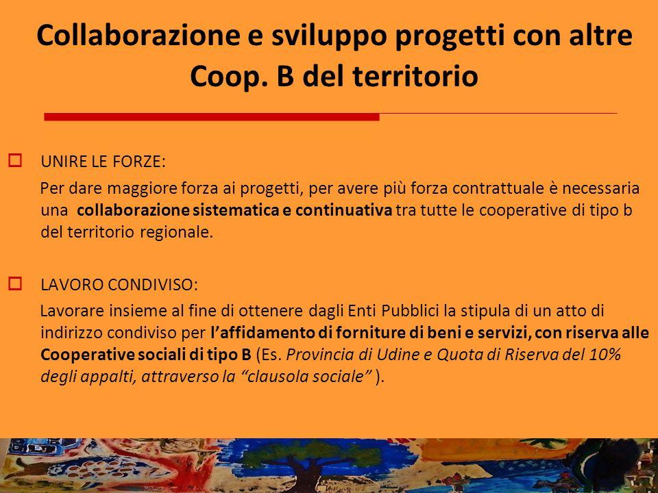 Collaborazione e sviluppo progetti con altre Coop. B del territorio UNIRE LE FORZE: Per dare maggiore forza ai progetti, per avere più forza contrattu