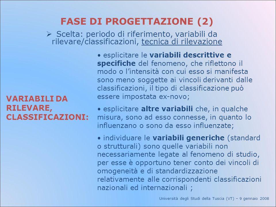 Università degli Studi della Tuscia (VT) – 9 gennaio 2008 FASE DI PROGETTAZIONE (2) Scelta: periodo di riferimento, variabili da rilevare/classificazi