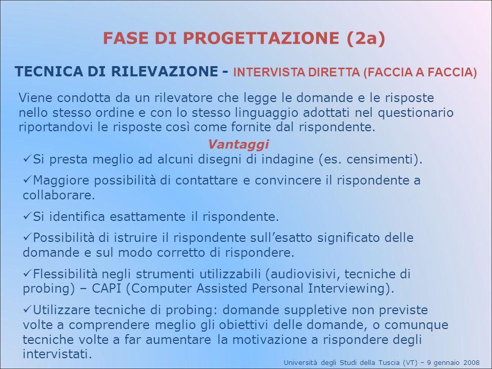 FASE DI PROGETTAZIONE (2a) TECNICA DI RILEVAZIONE - INTERVISTA DIRETTA (FACCIA A FACCIA) Viene condotta da un rilevatore che legge le domande e le ris