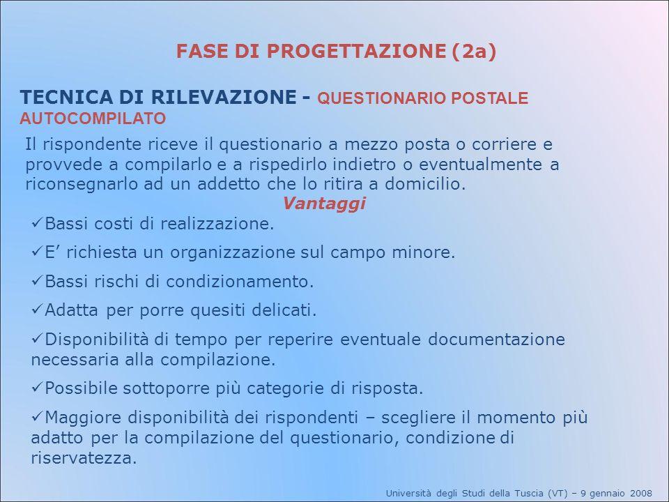 FASE DI PROGETTAZIONE (2a) TECNICA DI RILEVAZIONE - QUESTIONARIO POSTALE AUTOCOMPILATO Università degli Studi della Tuscia (VT) – 9 gennaio 2008 Il ri