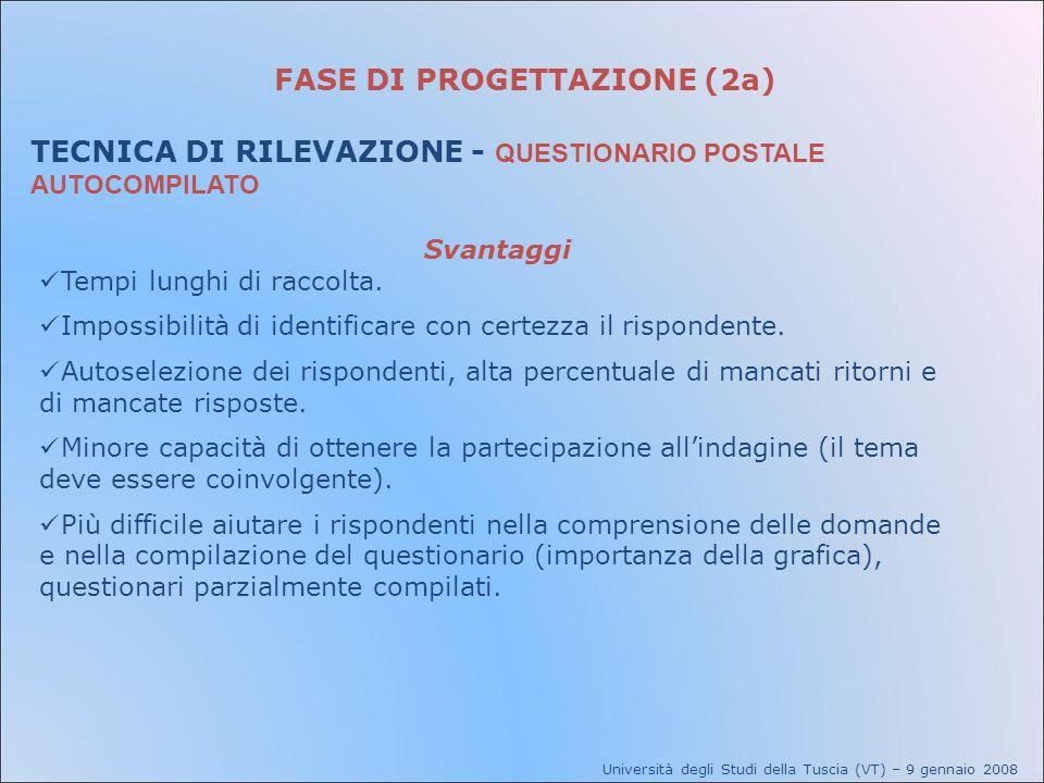 FASE DI PROGETTAZIONE (2a) TECNICA DI RILEVAZIONE - QUESTIONARIO POSTALE AUTOCOMPILATO Università degli Studi della Tuscia (VT) – 9 gennaio 2008 Svant