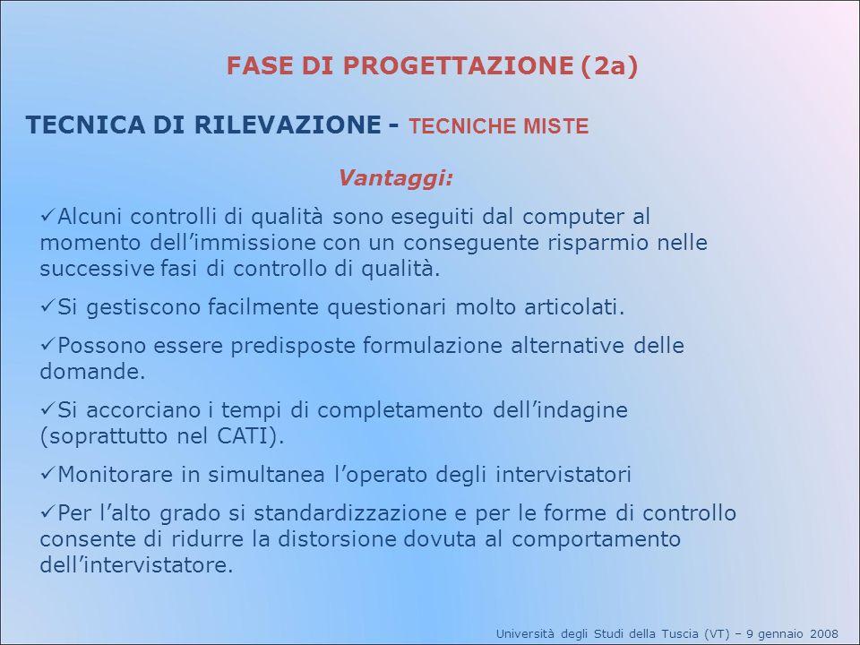 FASE DI PROGETTAZIONE (2a) TECNICA DI RILEVAZIONE - TECNICHE MISTE Università degli Studi della Tuscia (VT) – 9 gennaio 2008 Vantaggi: Alcuni controll