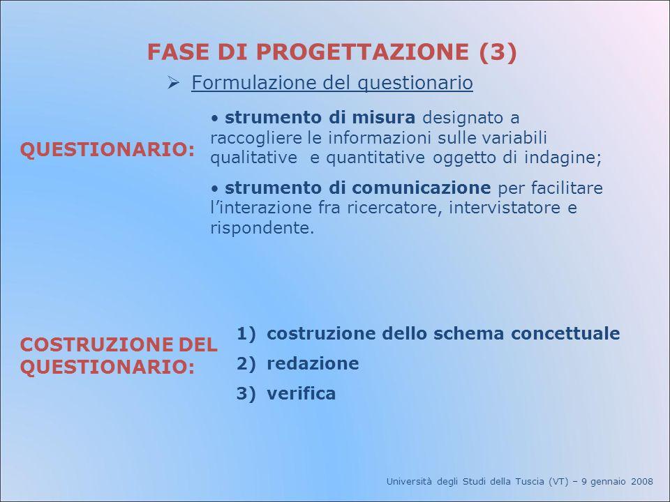 Università degli Studi della Tuscia (VT) – 9 gennaio 2008 FASE DI PROGETTAZIONE (3) Formulazione del questionario QUESTIONARIO: strumento di misura de