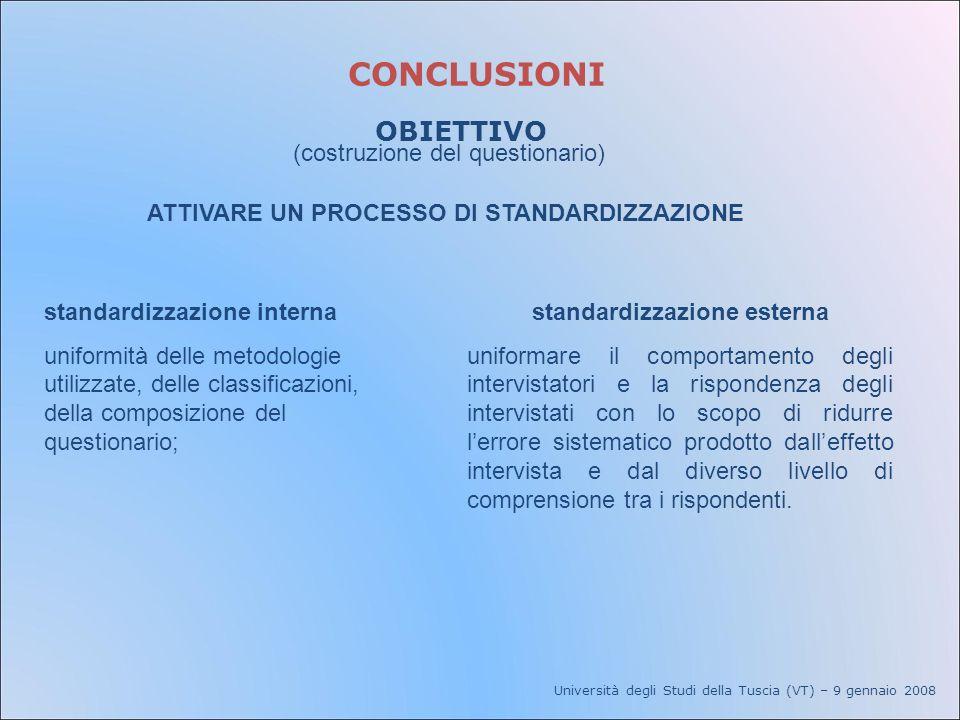 Università degli Studi della Tuscia (VT) – 9 gennaio 2008 CONCLUSIONI OBIETTIVO standardizzazione esterna uniformare il comportamento degli intervista