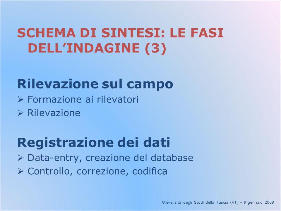 SCHEMA DI SINTESI: LE FASI DELLINDAGINE (3) Rilevazione sul campo Formazione ai rilevatori Rilevazione Registrazione dei dati Data-entry, creazione de