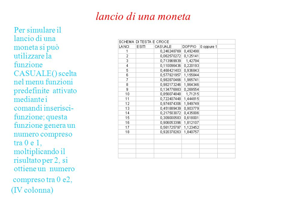 lancio di una moneta Per simulare il lancio di una moneta si può utilizzare la funzione CASUALE() scelta nel menu funzioni predefinite attivato mediante i comandi inserisci- funzione; questa funzione genera un numero compreso tra 0 e 1, moltiplicando il risultato per 2, si ottiene un numero compreso tra 0 e2, (IV colonna)