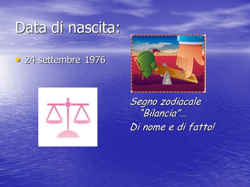 Data di nascita: 24 settembre 1976 24 settembre 1976 Segno zodiacale Bilancia… Di nome e di fatto!