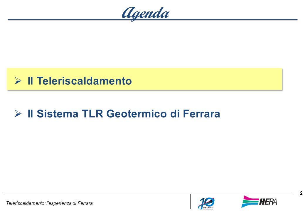 Teleriscaldamento: lesperienza di Ferrara Agenda Il Teleriscaldamento Il Sistema TLR Geotermico di Ferrara 2