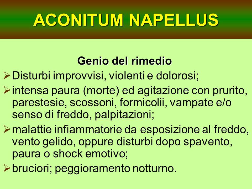 ACONITUM NAPELLUS Genio del rimedio Genio del rimedio Disturbi improvvisi, violenti e dolorosi; intensa paura (morte) ed agitazione con prurito, pares
